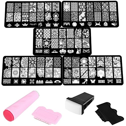Beauty7 Manucure Nail Art Tampons Vernis Stamping 5 Plaque + 2 Kits Tampons Sceau Racloir Timbre Pochoir en Metal Image 105 Designs Mixtes Impression Pour Ongle