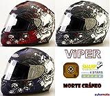 Viper RS-250 MORTE CRÁNEO DISEÑO MATE MOTOCICLETA CRASH CASCO INTEGRAL (L, PLATA)