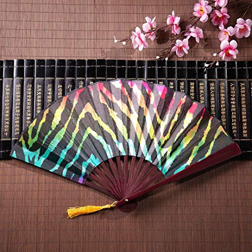 EIJODNL Traditionelle chinesische Fan Wild Zebra Print über Regenbogen Aquarell mit Bambus Frame Quaste Anhänger und Stoffbeutel japanische Fan Dekor Handfächer für Männer chinesische Fan Männer