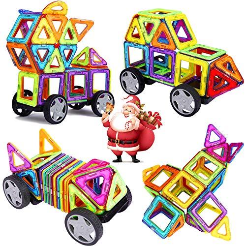 INTEY Magnetische Bausteine 32 tlg Kreative Bausteine Magnetische Konstruktionsbausteine Haus Turm Auto mit Räder Geschenk für Kleinkind ab 3 Jahre