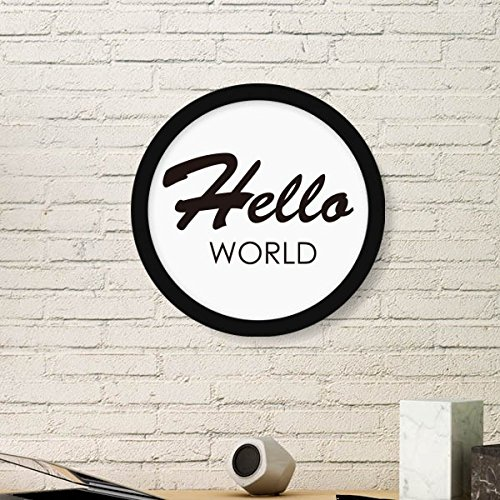 DIYthinker Programmer Interface Hallo Welt Runde Bilderrahmen Kunstdrucke von Paintings Startseite Wandtattoo Geschenk Small Schwarz