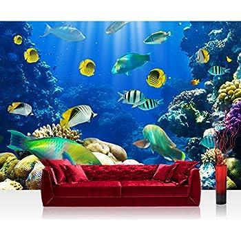 Rainbow tropical underwater ocean sea life wallpaper mural for Aquarium mural wallpaper
