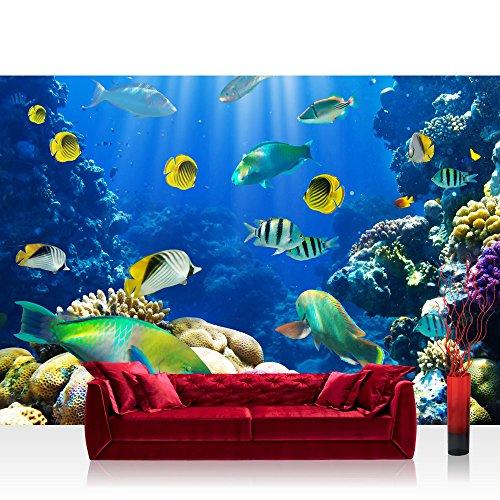 Vlies Fototapete 350x245 cm PREMIUM PLUS Wand Foto Tapete Wand Bild Vliestapete - UNDERWATER WORLD - Aquarium Unterwasser Korallen Meer Fische Riff Korallenrif - no. 033