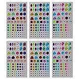 Hysagtek 6 hojas pegatinas autoadhesivas de diamantes de cristales, maquillaje, carnaval, manualidades, recortes, decoraciones, 3 estilos, multicolor