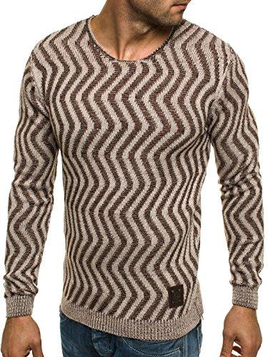OZONEE Herren Strickjacke Pullover Strickpullover Sweats Strick BLACK ROCK 18001 Beige_BR-18030