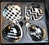 Christbaumkugeln,Weihnachtskugeln,4er Set aus Glas,schwarz/weiß,mit Motiven,8cm