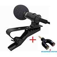 Urban Infotech 3.5 mm Clip-on Mini Lavalier Microphone Noise Cancellation Collar Mic for PC, Laptop, Android and Apple Devices (1.2 m, Black)