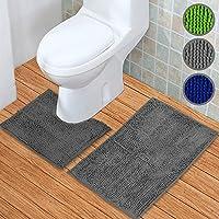 Badematten Set 2tlg – Badematte 45 x 45 cm und Badteppich 50 x 80 cm – Duschvorleger rutschfest & waschbar MIT WC-Ausschnitt