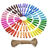 #7: TiedRibbons 50 Pcs Mini Photo Clip With Rope Kids Wooden Pegs Crafts Clothes Hanging For Home Decoration with 5 Meter Rope