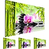 Bilder – Wandbild - Vlies Leinwand - 70 x 40 cm - Orchidee Bild - Kunstdrucke – mehrere Farben und Größen im Shop - Fertig Aufgespannt !!! 100% MADE IN GERMANY !!! - Feng Shui – Bambus – Orchidee 502014a