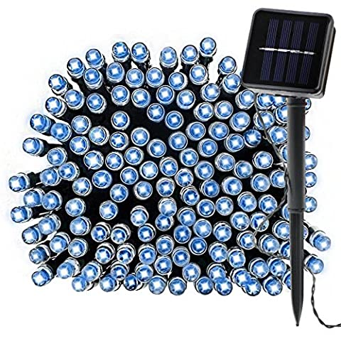 Waterproof Solar Fairy Lights, 39Ft 100 LED Outdoor String Lights for Home, Lawn, Ambiance, Garden, Christmas Tree, Valentines' Day Decoration (Blue) [Energy Class