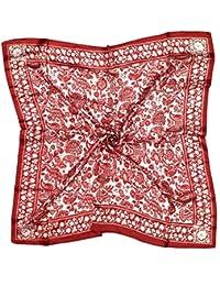 Bees Knees Fashion - Bufanda - De color rojo oscuro floral blanco puro letra pequeña pañuelo de seda