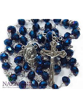 Deep Blue Kristall Perlen Rosenkranz katholischen Halskette Heiligen Boden Medaille & Kruzifix