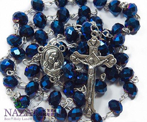 deep-blue-kristall-perlen-rosenkranz-katholischen-halskette-heiligen-boden-medaille-kruzifix