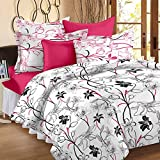 Story@ Home White 186 TC 100% Cotton 1 Double Bedsheet With 2 Pillow Cover White Pink