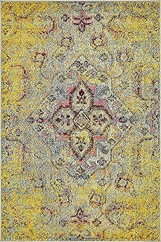 4-Feet by 6-Feet (4' x 6') Arte Yellow Area Rug