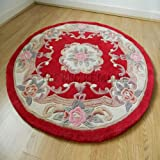 Chinois Rond/cercle design Tapis de laine en rouge fait main traditionnel Aubusson 120 cm ou 4 de diamètre...