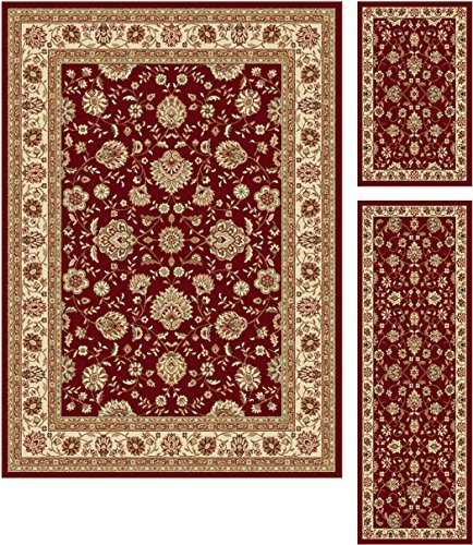 Universal Rugs 105140 Red 3 Pc. Set 5-Feet by 7-Feet, 20-Inch by 60-Inch and 20-Inch by 32-Inch Area Rug, 3-Piece by Universal Rugs