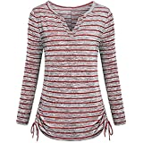 YANG YI Clearance Offer Women's Casual Stylish V Neck Long Sleeves Stripe Tops T-Shirts & Shirts Bandage Hem