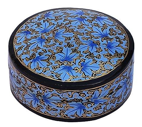souvnear 13.4cm Petit rond bijoux/boîte à bijoux–Bleu & Noir Boîtes de rangement fait main en papier mâché