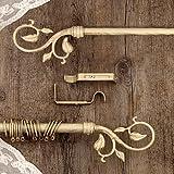 AT17 Gardinenstange Vorhangstange Gardinenstange Variable Länge Landhaus Shabby Chic - Blumen - 120-210 - Durchmesser 2 cm - Elfenbein Dunkel/Gold - Metall