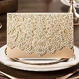 20x Tarjetas de invitación de bodas de corte Laser grabado flores en color dorado., a juego gratuito Envelop de lujo, Insert Card y sellado