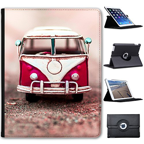 Old-Camper-Van-Faux-Leather-Folio-Presenter-Case-Cover-Bag-with-Stand-Capability-For-Tablets