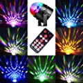 Upgraded 6 Colours RGBPYW Disco DJ Stage Lights, Music Activated Magic Rotating LED Ball Lights Party Lights Strobe Lights for Birthday Party Pub Indoor Decoration Wedding Celebration KTV Bar [with REMOTE and UK Plug]