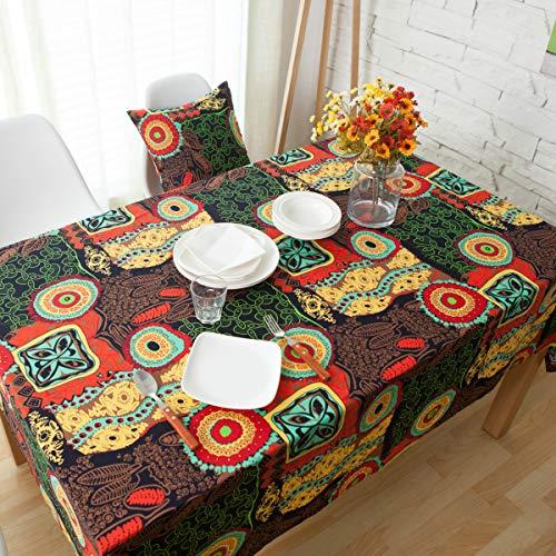 Aimli-Home Tischdecke, mediterraner Bohemian-Stil, Misch-Baumwolle, Leinen, Esstisch, Couchtisch, Möbel, rechteckig, Sonnenblumen-Stil, Rot, 140×220cm - Mediterraner Stil Möbel