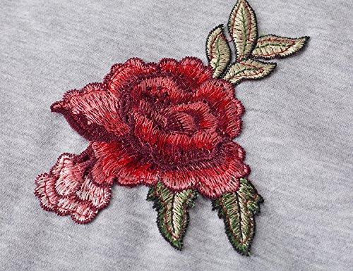 Yidarton Donna Felpa con Cappuccio Stampare Fiore Pullover a Maniche lunghe Hoodies 2-grigio