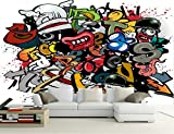 Kuamai Custom Papel De Parede Infantil Cartoon Graffiti 3D Cartoon Murals For Children'S Room Bar Ktv Background Wall Pvc Wallpaper-120X100Cm