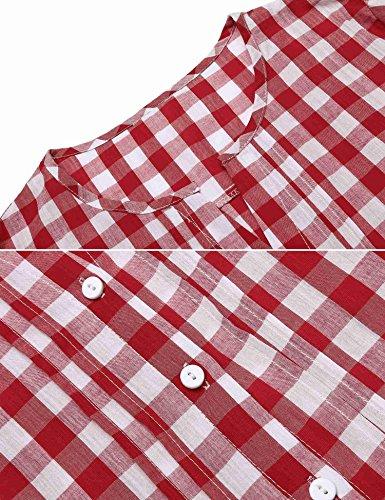 CHIGANT Damen Karierte Bluse Langarm Klassische Karobluse Casual Oberteil Langarmshirt mit Brusttaschen B-3-Rot