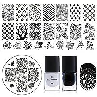 Plantillas Born Pretty para esmaltes de estampado para uñas, con diseño de flores de encaje y lunares redondos, color negro