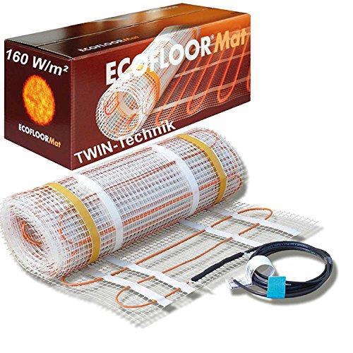 ECOFLOOR® Fußbodenheizung elektrisch 160 Watt/m² Größe wählbar 1- 12m² Fußboden-Heizmatte Twin (2.5 m² = 5 m Länge)