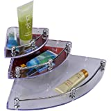 LOGGER - Acrylic ABS Pipe Corner Shelf for Bathroom and Kitchen (Transparent) -Set of 3 Pieces