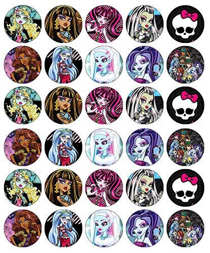 Cupcake-Topper Monster High, essbares Oblatenpapier, Feen-Motiv, 30 Stück