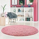 carpet city Shaggy Pastell Teppich Hochflor Langflor Einfarbig/Uni in Pastell-Rosa aus Polypropylen für Wohn-Schlafzimmer, Größe: 80x80 cm Rund
