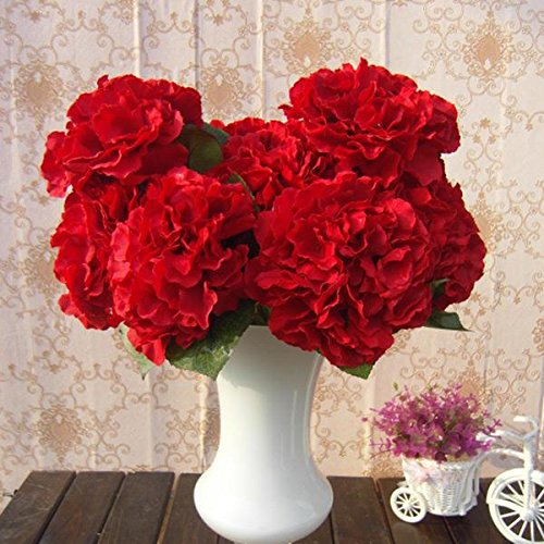Soledì- 1 Mazzo di 5 Fiori Artificiali Ortensia, Fioritura in Seta, Bouquet Decorazione per Sposina Cerimonia Matrimonio Casa (Rosso)