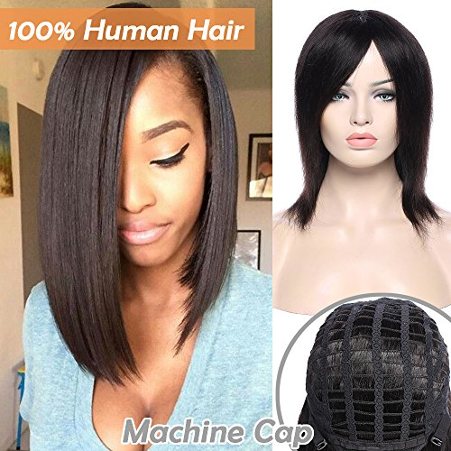 Parrucca donna capelli veri umani neri naturali lisci corti 20cm wig remy human hair brasiliani parrucche straight 100g