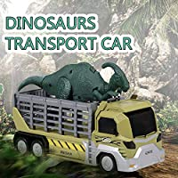 Atlojoys Dinosaurs Transport Car Carrier Truck Toy Parasaurolophus Pull Back Dinosaur Cars Gift for Kids