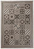 Carpeto Sisal Teppich Grau 140 x 200 cm Marokkanisches Fliesenmuster Muster Flachgewebe Sisal Kollektion