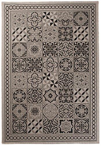 *Carpeto Sisal Teppich Grau 140 x 200 cm Marokkanisches Fliesenmuster Muster Flachgewebe Sisal Kollektion*