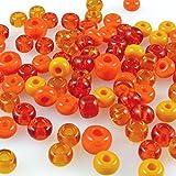 60 große Rocailles Glasperlen 5-7mm Perlen Mix orange -727