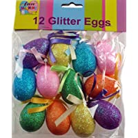 12 x Large Glitter Craft Easter Eggs - Hanging Decorations For Bonnets And Hats by DP