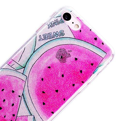 """WE LOVE CASE iPhone 7 Hülle Glitzern Transparent Durchsichtig Rosa iPhone 7 4,7"""" Hülle Silikon Weich Wassermelone Handyhülle Tasche für Mädchen Elegant Backcover , Soft TPU Flexibel Case Handycover St Watermelon"""