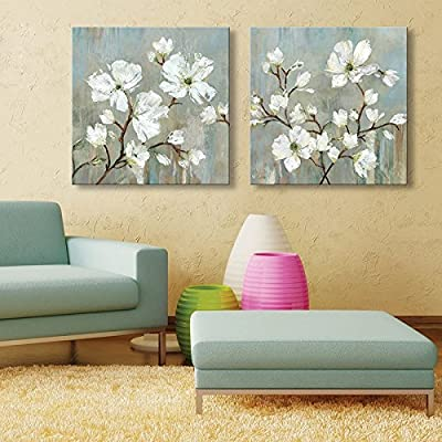 IPLST@ Modern Wall Art, Large Pear Blossom Flowers Oil Painting on Canvas Set of 2 -24x24inchx2pcs( No frame ,without stretcher) - inexpensive UK light shop.