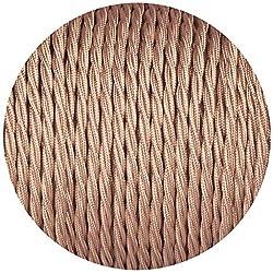 Textilkabel für Lampe 10m Roségold, Textilummanteltes Stoffkabel Stromkabel 3-adrig gedreht verseilt einzeln umflochten für DIY Lampezubehör