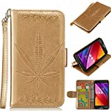 "Custodia ASUS Zenfone 2 Laser / ZE500KL 5.0"" Cover d'oro, Cozy hut [Retro] [Anti-Shock] Retro Maple Leaf Modello Design Con Cinturino da Polso Magnetico Snap-on Book style Internamente Silicone TPU Custodie Case in pelle Protettiva Flip Cover Per Asus ZenFone 2 Laser ZE500KL 5.0 - D'oro Maple Leaf"