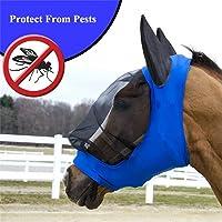 HeyBob Pet Supplies Masque Anti-Mouches pour Cheval en Maille Respirante avec Oreilles Taille M//L