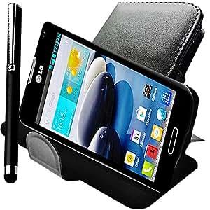 A&D® Etui Housse LG OPTIMUS F6 coque pour Protection cuir PU NOIR D500 D505 FOLIO pochette Flip cover PORTEFEUILLE + STYLET pour Smartphone OFFERT !